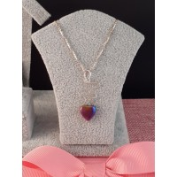 Pyrite Heart Necklace on 925 Sterling Silver box chain
